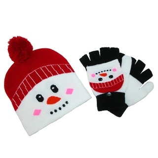 CTM® Kid's Winter Themed Hat and Convertible Mitten Set