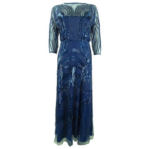 Adrianna Papell Women's Petite Embellished Gown (2P, Night Flight Blue)
