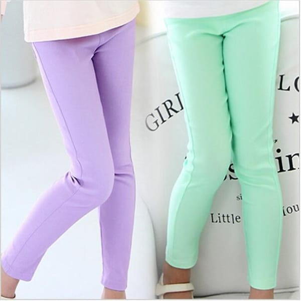 671f79ceb57f0 Girl Leggings Classic Skinny Pencil Long Pants Solid Candy Color for Girls  Middle Children Long Trousers