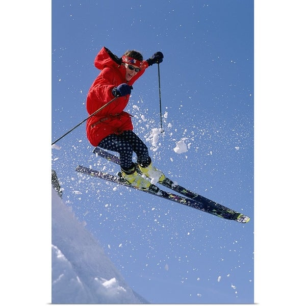 """""""Person downhill skiing in mid air"""" Poster Print"""