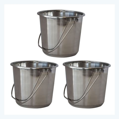 Offex 3 Piece Small Stainless Steel Bucket Set with Handle