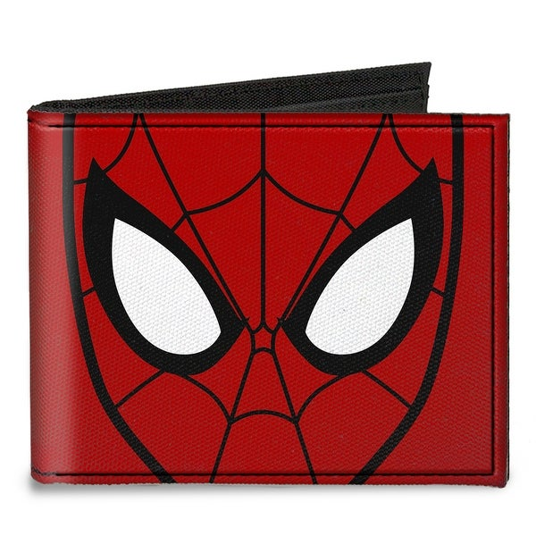 Spider Man Face Close Up + Spiders Red Black Canvas Bi Fold Wallet One Size - One Size Fits most