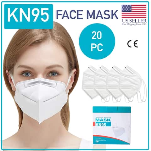 KN95 Face Mask 20 Piece Protective Respirator Covers Mouth & Nose - No Size