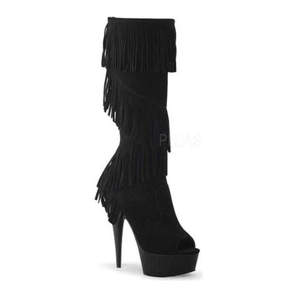 1263f25636f Pleaser Women  x27 s Delight 2021 Knee High Boot Black Suede Black Matte