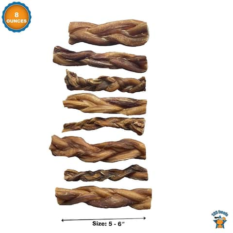 Braided Bully Sticks 5-6 inches chews for dogs all Natural (8 ounce bag) - 8 Ounces