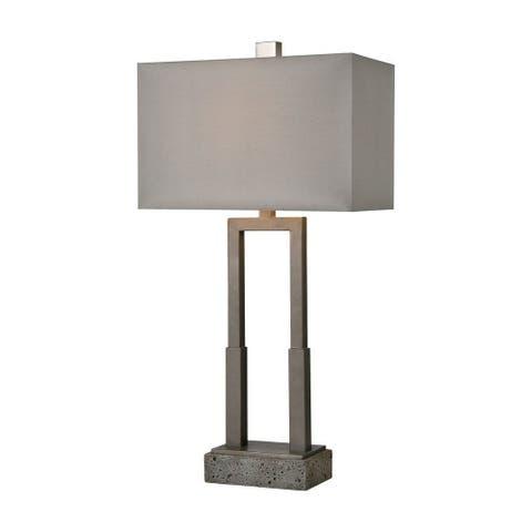 Frances Manor - 1 Light Table Lamp Pewter/Rough Concrete/Rough Concrete Finish with Gray Nylon