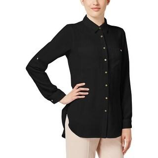 Calvin Klein Womens Blouse Crepe Button Front