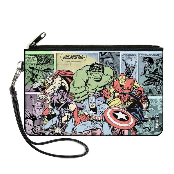 Marvel Comics 6 Retro Avengers Group2 Pose Comic Scene Blocks Multi Pastel Canvas Zipper Wallet