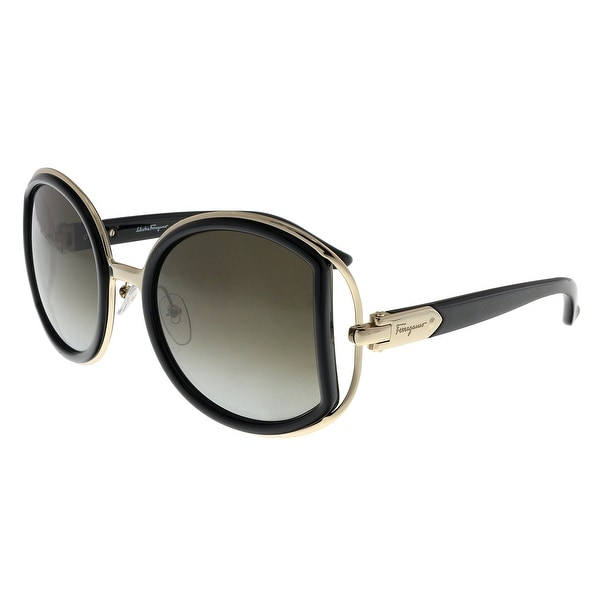 99b6e465b783 Shop Salvatore Ferragamo SF719S 001 Black Round Sunglasses - 52-22 ...