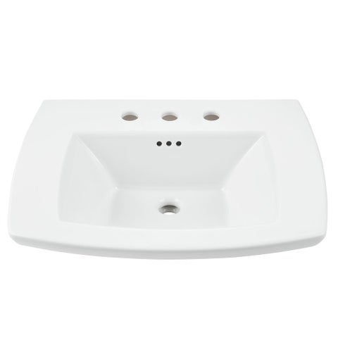 "American Standard 445.008 Edgemere 25"" Fireclay Pedestal Bathroom Sink with 3 Faucet Holes at 8"" Centers and Overflow - Less"