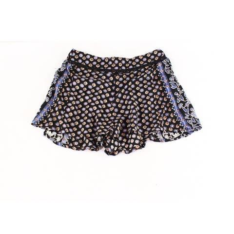 ANGIE Blue Womens Medium Mix-Print Stretch Shorts