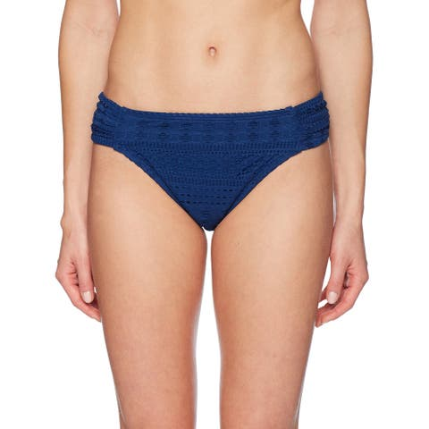 Bleu Rod Beattie Blue Womens Size 8 Crochet Shirred Bikini Bottom