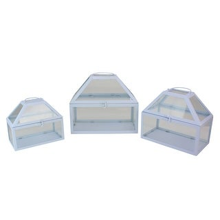"""Set of 3 Light Powder Blue Metal and Glass Paneled Nesting Outdoor Terrariums 12"""" - N/A"""