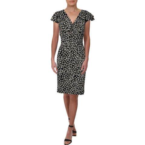 Lauren Ralph Lauren Womens Brisa Wear to Work Dress Printed V-Neck