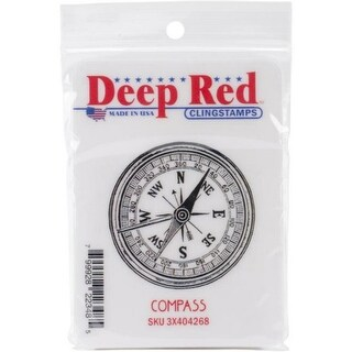 Deep Red Stamps Compass Rubber Cling Stamp - 2 x 2