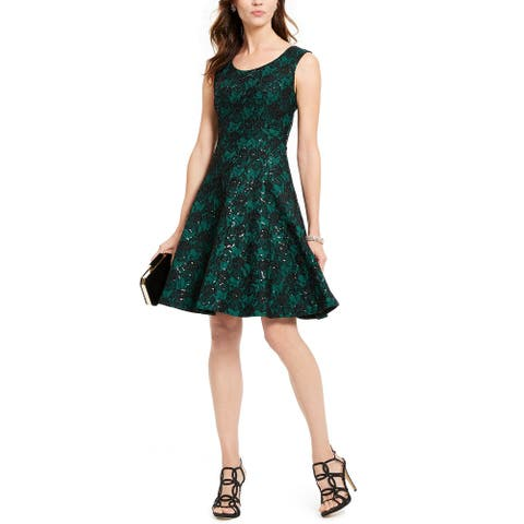 INC International Concepts Women's Sequined Lace Fit & Flare Dress Green Size 14