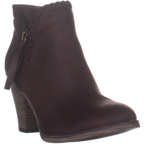 MIA Kori Western Side Zip Ankle Boots, Chocolate - 6 US