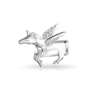 Bling Jewelry 925 Sterling Silver Pegasus CZ Winged Horse Unicorn Charm Bead