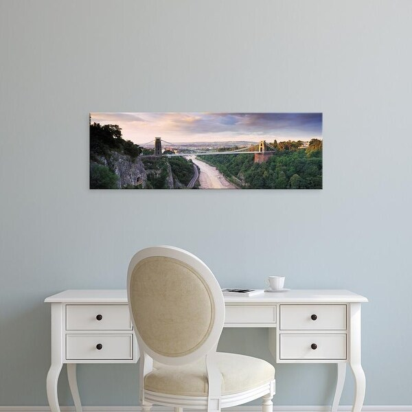 Easy Art Prints Panoramic Image 'Clifton Suspension Bridge, Avon Gorge, Avon River, Bristol, England' Canvas Art