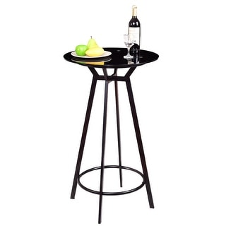 Shop Costway Modern Round Bar Table Glass Top Metal Frame ...
