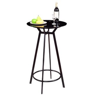Costway Modern Round Bar Table Glass Top Metal Frame Bar Bistro Pub Furniture Black