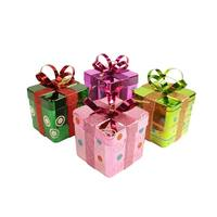 "4ct Candy Fantasy Gift Box Shatterproof Christmas Ornaments 6"" - multi"