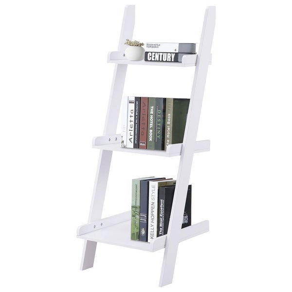 Costway 3 Tier Leaning Wall Ladder Book Shelf Bookcase Storage Rack Display Flower Plant