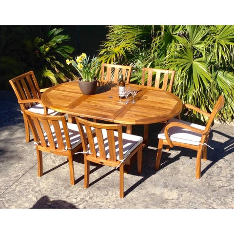 Chic Teak Orleans Teak Wood Round to Oval Outdoor Extension Dining Table
