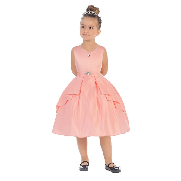ea3590b52a Bijan Kids Girls Peach Bridal Satin Rhinestone Junior Bridesmaid Dress - 12