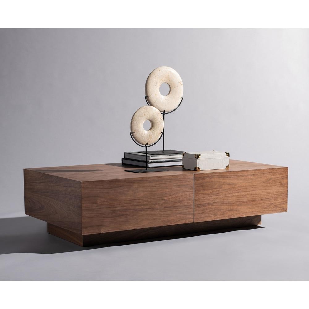 Safavieh  Couture Rascal Sliding Storage Coffee Table (Rectangle - No - Shelf - Modern and Contemporary - Base - Walnut - Wood/Metal - Metal/Wood - Wood
