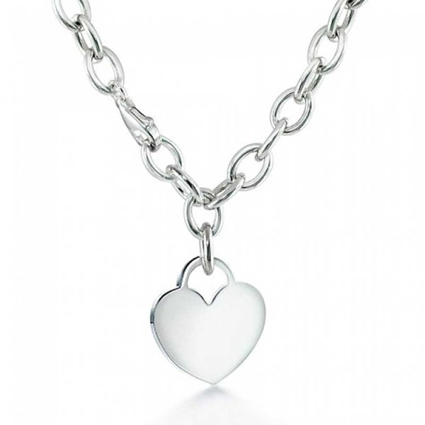0ee49cc9965e Solid Heart Shape Tag Pendant Necklace For Women For Teens Engravable 925 Sterling  Silver Heavy Rolo