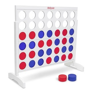 GoSports Giant Portable 4 in a Row Game Classic White Finish - Huge 4 Foot Width - with Rules and Carry Bag