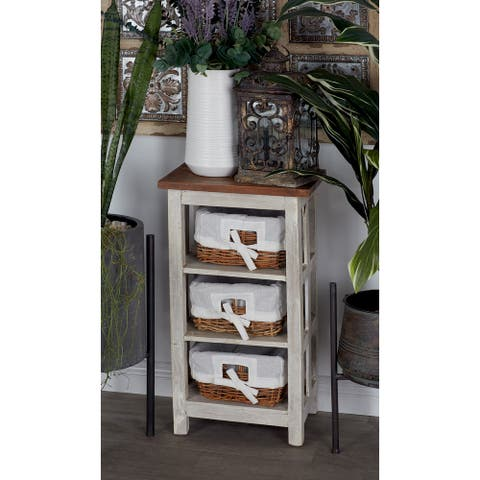 Farmhouse 29 x 15 Inch White Wood and Rattan Cabinet by Studio 350