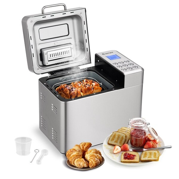 Costway 2 LB Automatic Bread Maker Stainless Steel Programmable Bread Machine Silver - Sliver