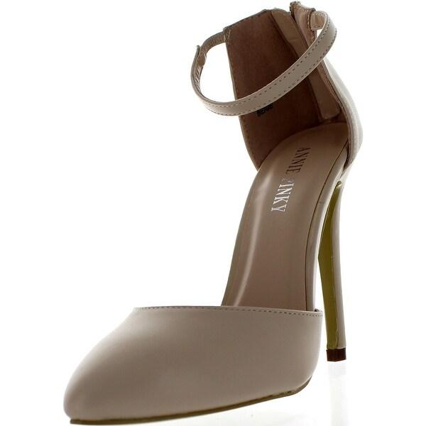 Annie Pinky Kara-01 Women's Closed Toe D-Orsay Ankle Strap Pump Sandal Heels