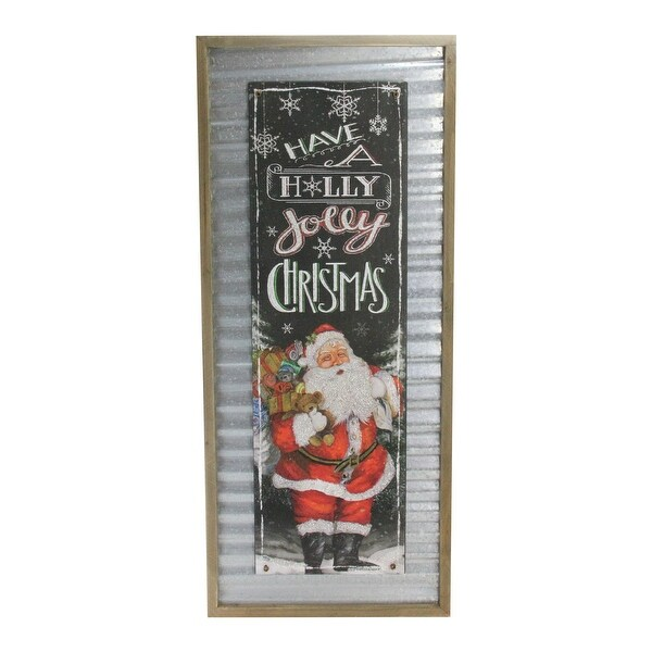 "31.5"" Red and Black ""Have a Holly Jolly Christmas"" Decorative Santa Wall Plaque - N/A"