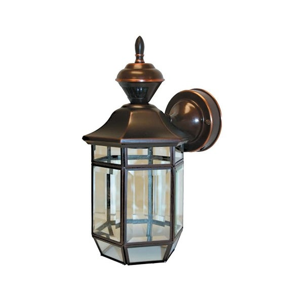 """Heath Zenith HZ-4175 Lexington 1-Light 13-1/2"""" Tall 150 Degree Motion Activated Outdoor Wall Sconce - Antique Copper - N/A"""