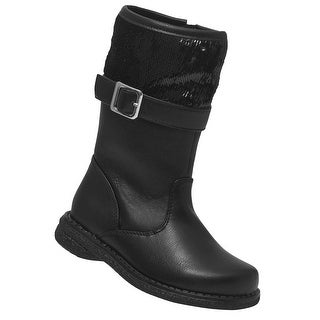 Rachel Shoes Little Girls Black Sequined Top Side Zipper Boots