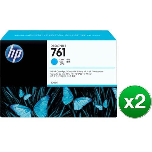 HP 761 400-ml Cyan DesignJet Ink Cartridge (CM994A)(2-Pack)