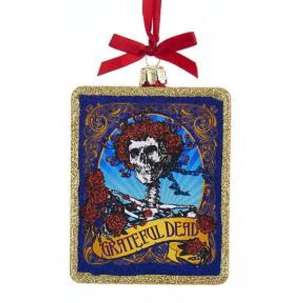 """4"""" Red, Gold and Blue Grateful Dead Skull with Roses Glass Christmas Ornament - RED"""