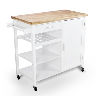 BELLEZE Rolling Kitchen Buffet Cart, Wood Utility Storage Island Cart with Wood Top, White