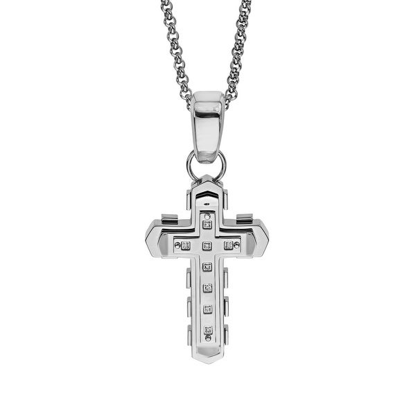 Black & Blue Men's Geometric Cross Pendant with Diamonds in Stainless Steel
