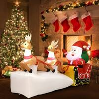 Gymax 7FT Inflatable Santa Claus on Sleigh 2 Reindeers Christmas Decor