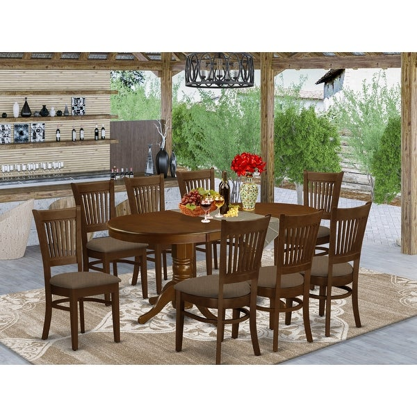9-piece Dining Room Set - Oval Table with a Leaf and 8 Dining Chairs - Espresso Finish. Opens flyout.