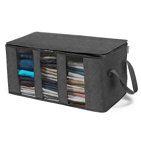 Enova Home Dark Grey Non Woven Fabric Foldable Storage Underbed Clothes Cover Bag