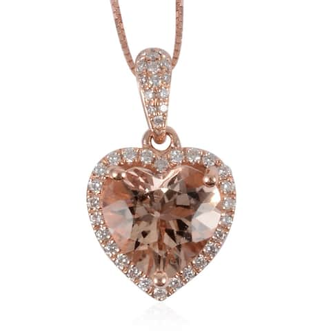 Rose Gold AAA Morganite Diamond Pendant Necklace 18 Inch ct 2.373 - Size 18''