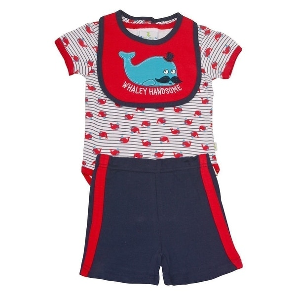 Duck Duck Goose Baby Boys Red Whale Print Bodysuit Bib 3 Pc Shorts Set
