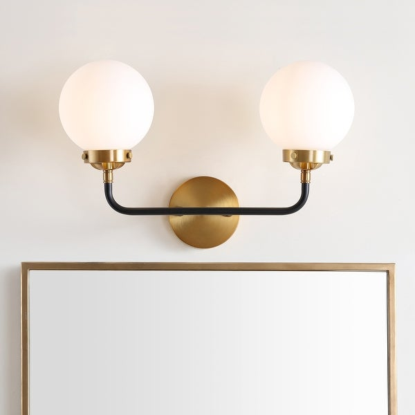"""Caleb 2-Light 18"""" Brass Wall Sconce, Brass Gold/Black by JONATHAN Y. Opens flyout."""