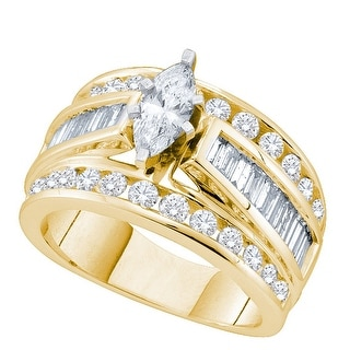 14k Yellow Gold Womens Natural Marquise Diamond Certified Bridal Wedding Engagement Ring 1.00 Cttw - White