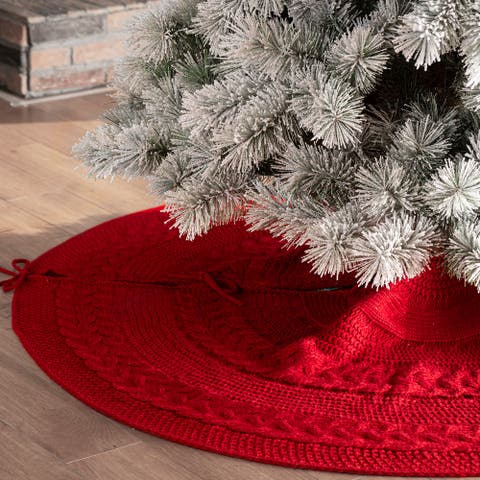"""Glitzhome 48""""D Knitted Acrylic Christmas Tree Skirt, Snowflake/Red"""